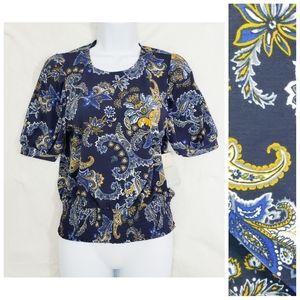 NWT Lily White Boho Paisley Blue Blouse Top Small